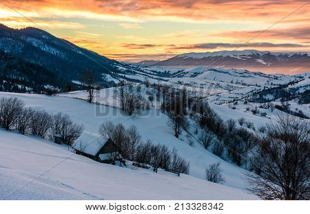 Winter Dawn In Mountainous Countryside
