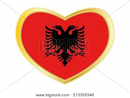 Albanian national official flag. Patriotic symbol banner element background. Correct colors. Flag of Albania in heart shape isolated on white background. Golden frame. Vector