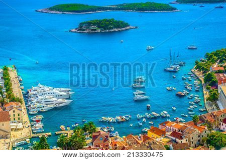 Aerial view at famous town Hvar, worldwide known tourist summer resort in Croatia, Europe.