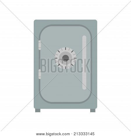Safe icon vector lock box illustration. Bank security deposit safety isolated metal