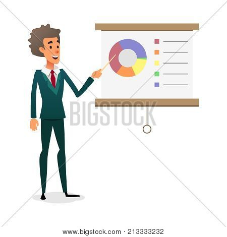 Funny cartoon manager presenting whiteboard about financial growth. Young businessman making presentation and showing diagrama on whiteboard