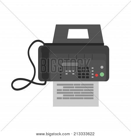 Fax icon business vector phone office web. Machine illustration printer modern paper. Design symbol