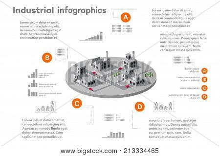 Infographic elements for presentation building 3D industry construction of isometric of flat design with urban landscape and industrial factory buildings and vector infograph set