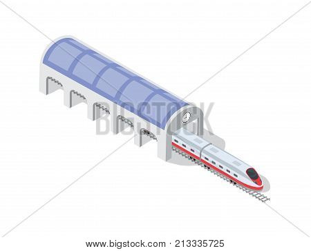 Fast modern high speed train. Vector flat 3d isometric illustration of public transport. Freight transportation to carry large numbers of passengers. Station tech world