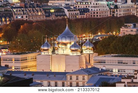 PARIS, FRANCE -14 OCTOBER, 2017- The Russian orthodox church near the Quai Branly and the Eiffel Tower in Paris, nicknamed Saint Vladimir, was inaugurated in October 2016.