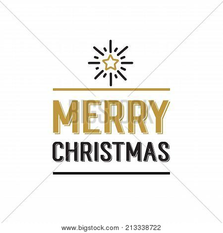 Merry Christmas lettering. Christmas design element with star. Typed text, calligraphy. For greeting cards, posters, leaflets and brochure.