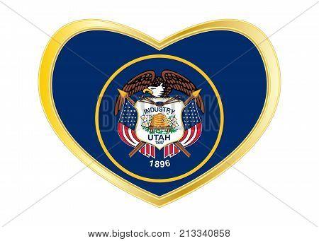 Flag of the US state of Utah. American patriotic element. USA banner. United States of America symbol. Utahn official flag in heart shape isolated on white background. Golden frame. Vector