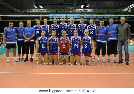 BUDAPEST, HUNGARY - JUNE 17: Czech National Team pose for photos before a CEV European League woman's volleyball game Hungary vs Czech Republic on June 17, 2011 in Budapest, Hungary.