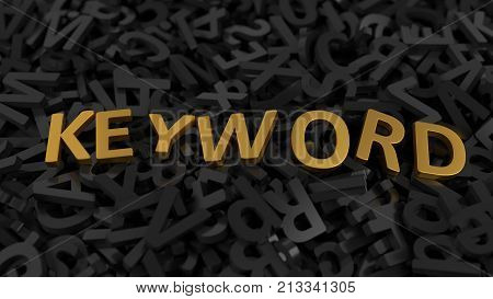 golden 'keyword' text on stack of letters. conceptual illustration background in 3d. suitable for internet and web technologies themes.