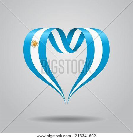 Argentinean flag heart-shaped wavy ribbon. Vector illustration.