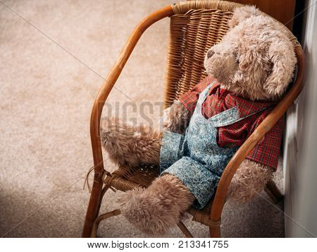 Soft brown teddy bear stuffed animal sitting in a wicker chair dressed in a checked shirt and dungarees