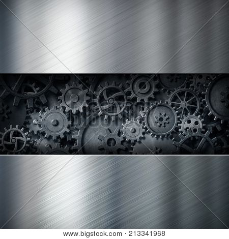 metal industrial background with cogs and gears clockwork 3d illustration