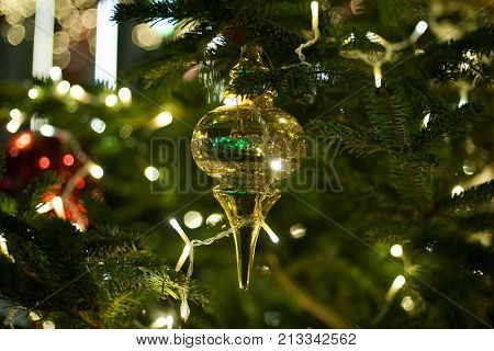 Decorated and illuminated Christmas tree. Christmas and New Year Decoration. Holiday concept, winter season