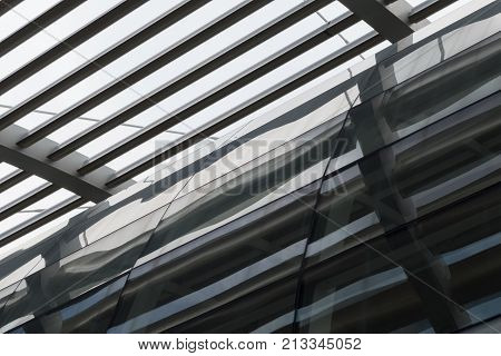 Detail Of Metal And Glass Structure Of Modern Architecture Building
