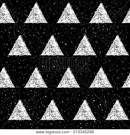 Abstract Doodle Seamless Patten Background. Monochrome Black And White Patten