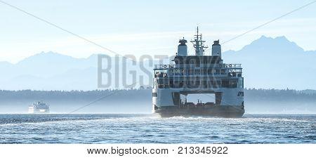 Washington State Ferry Chimakum in Elliott Bay Seattle wA