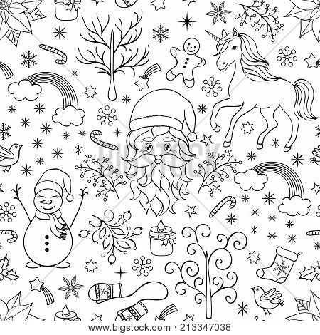 Christmas seamless pattern with festive elements on white background.Coloring page for kids and adult.