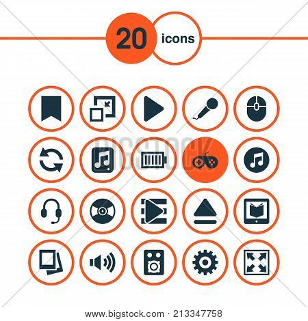 Includes Icons Such As Gamepad, Top, Speaker And Other.  Multimedia Icons Set.