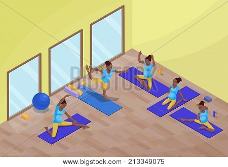 Yoga class interior with pregnant african woman doing physical fitness exercise, isometric 3d vector illustration with sport training, relaxation and meditation poses collection