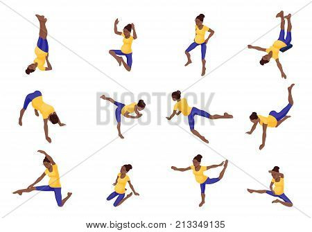 Prenatal yoga big set with pregnant african woman doing physical fitness exercise, isometric 3d vector illustration with sport training, relaxation and meditation poses collection