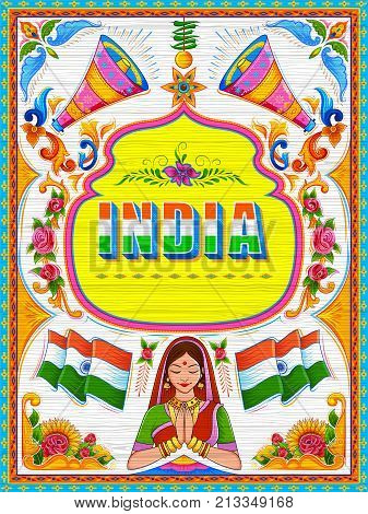 illustration of colorful welcome banner in truck art kitsch style of India poster