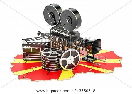 Macedonian cinematography film industry concept. 3D rendering isolated on white background