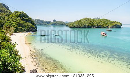 High angle view beautiful landscape of the beach floating pier and sea in summer from Ko Wua Ta lap islands viewpoint