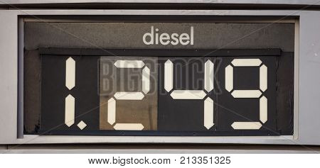 Diesel price sign at the fuel station.