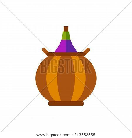 Vector icon of carboy. Vineyard, wine, alcoholic drink. Wine production concept. Can be used for topics like drinks, winery, alcoholic beverage store