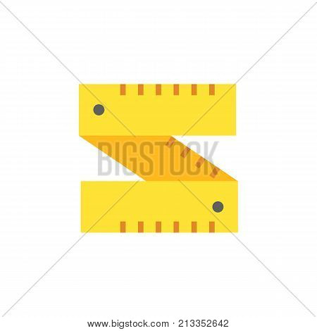 Vector icon of carpenter ruler. Centimeter, tape measure, length. Woodwork concept. Can be used for topics like construction, carpentry, tailoring