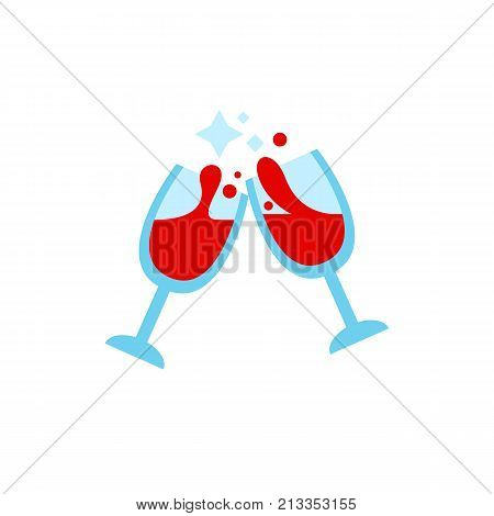 Vector icon of glasses with wine making cheers. Toast, anniversary, party. Wine production concept. Can be used for topics like drinks, holiday, celebration