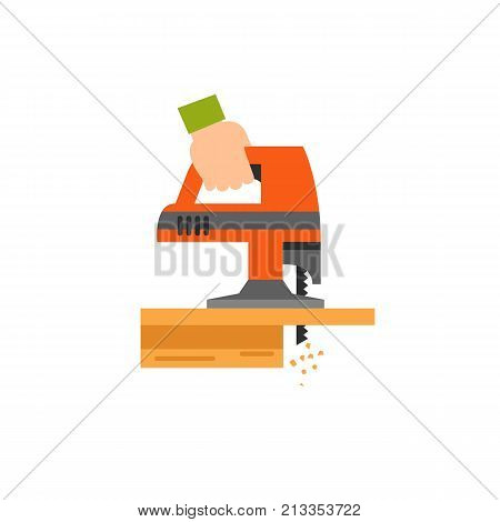 Vector icon of hand holding jigsaw tool and sawing wooden plank. Carpenter, repairman, renovation. Woodwork concept. Can be used for topics like construction, carpentry, hobby