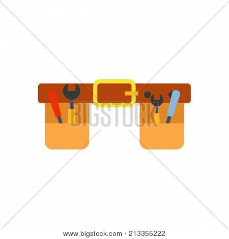 Vector icon of tool belt with instruments. Carpenter, repairman, handyman. Woodwork concept. Can be used for topics like construction, service, renovation
