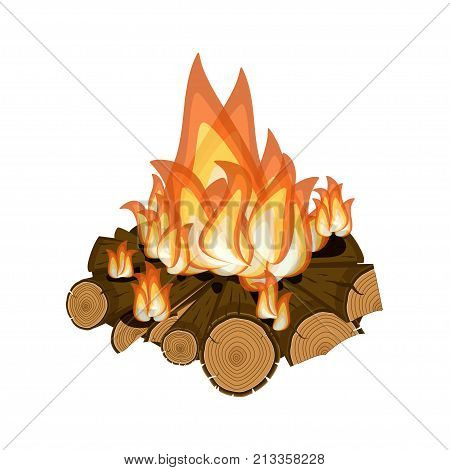 Wood burning, bright campfire isolated on white background. Cartoon vector illustration in flat style.