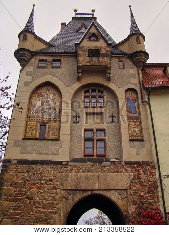 The gatehouse is the walk up to the castle in the historic German city of Meißen