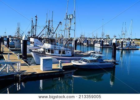 October 12, 2017 in Crescent City, CA:  Fishing Vessels docked at the Crescent City, CA Harbor Marina which has spacious docks for commercial fishing vessels and where tourists and locals can buy fresh caught fish on the vessels themselves during the week