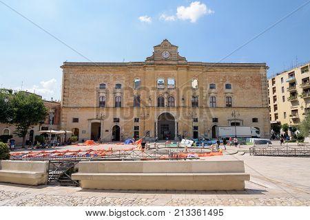 Matera Italy - September 2 2016: Building of Palazzo dell'Annunziata on Piazza Vittorio Veneto square in Matera