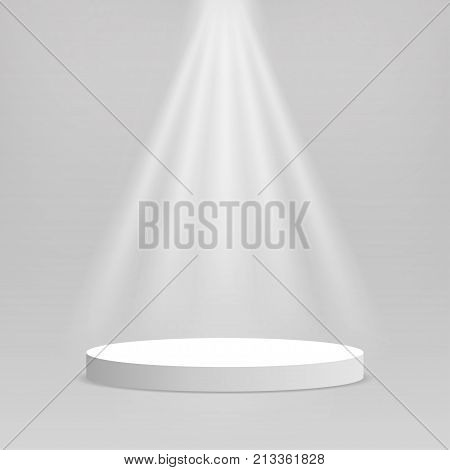 White podium. Empty stage podium. Round stage with lighting for awards ceremony product presentation performance. Vector