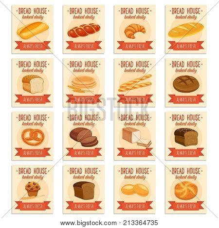 Card template food with bread products. Rye bread and pretzel, muffin, pita, ciabatta and croissant, wheat and whole grain bread, bagel, toast bread, french baguette for design menu bakery.
