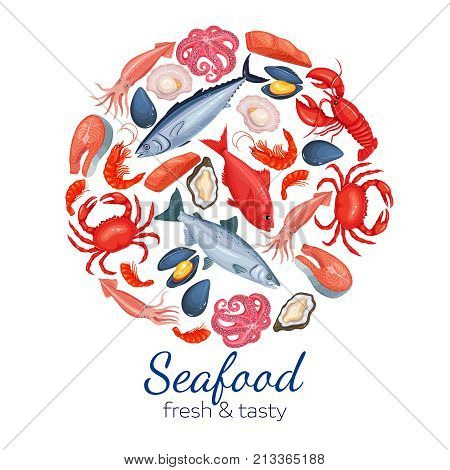 Round template seafood page design with mussel, fish salmon, shrimp. Lobster, squid, octopus, scallop, lobster, craps, mollusk, oyster, alfonsino and tuna for product market.