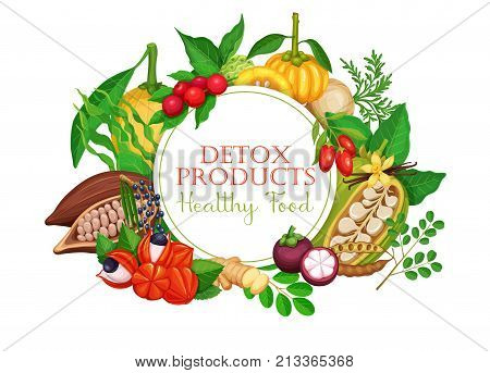 Poster template design with superfood fruits and beries for detox product menu design. Vector illustration.