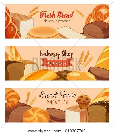 Banner template food with bread products. Rye bread and pretzel, wheat and whole grain bread, muffin, pita, ciabatta and croissant, bagel, toast bread, french baguette for design menu bakery.