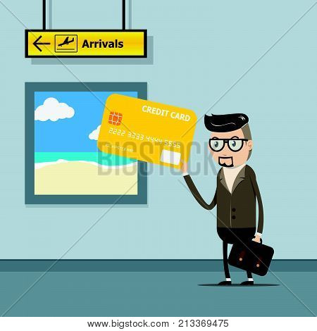 vector illustration EPS10. businessman use credit card for payment on travel trip at the airport with departure sign. hand holding credit card. credit card , banking , financial concept