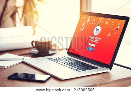online shopping website on laptop screen for buy gift on seasonal and holiday for Christmas and new year gift. online shopping concept