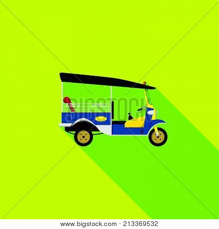 vector EPS10. tuk tuk is a local taxi vehicle with three wheels. ride tuk tuk is most popular activity for tourist in Bangkok for sightseeing attraction. isolated flat vector poster