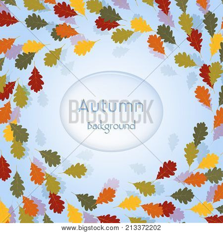 Colorful autumn background with autumn tree leaves,  vector design elements for celebration quotation.  Nature fall template for design card, postcard, event icon logo, badge fall season banner, poster or flyer.