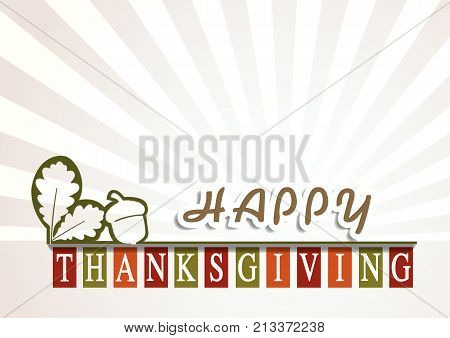 Happy Thanksgiving Day background with autumn tree leaves and acorn,  vector design elements for celebration quotation, can be use as card, postcard, event icon logo or badge fall season banner, poster or flyer.