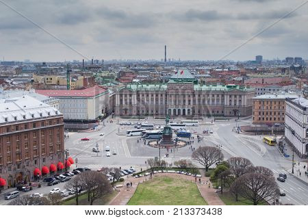 Building Legislative Assembly and monument to Nicholas I on St. Isaac Square in St. Petersburg, Russia