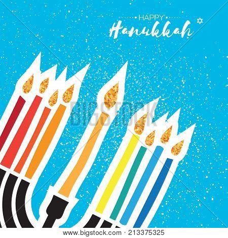 Happy Hanukkah Greeting card. Hanuka juish vector illustration. jewish menorah. Hanuka candles symbol. Square frame for text. Vector illustrator