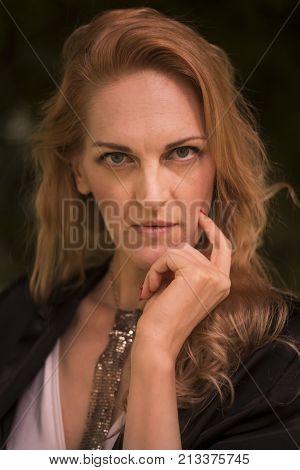 One Mature Caucasian Beautiful Woman, Late 40S, Outdoors Portrait Head Face Close Up, Headshot, Hand